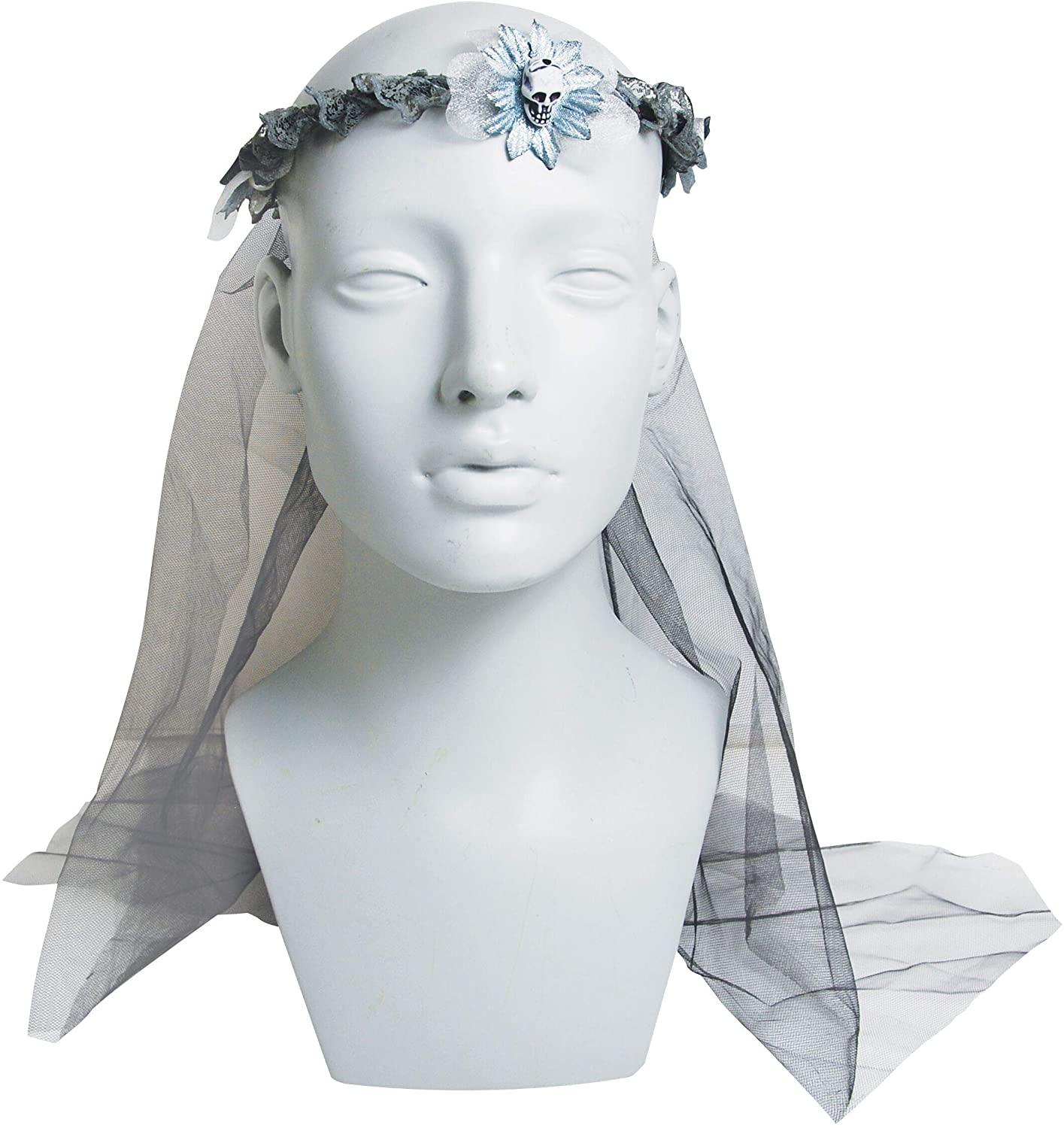 Sunstar Industries Floral Halloween Veil Headband with Skull Decoration, One Size Fits Most