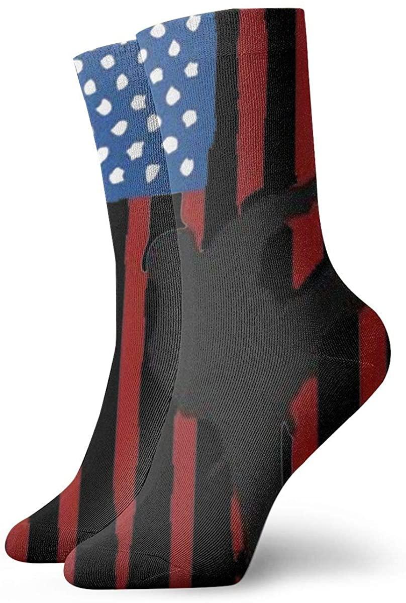 USA Flag Team Taekwondo Short Crew Socks Athletic Tube Socks For Men Women