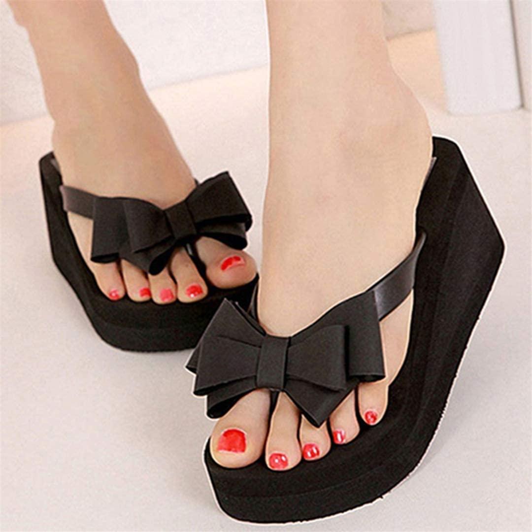 Luxury Tuxie Women Platform Mid Heel Flip Flops Beach S ALS Bowknot Slippers Shoes