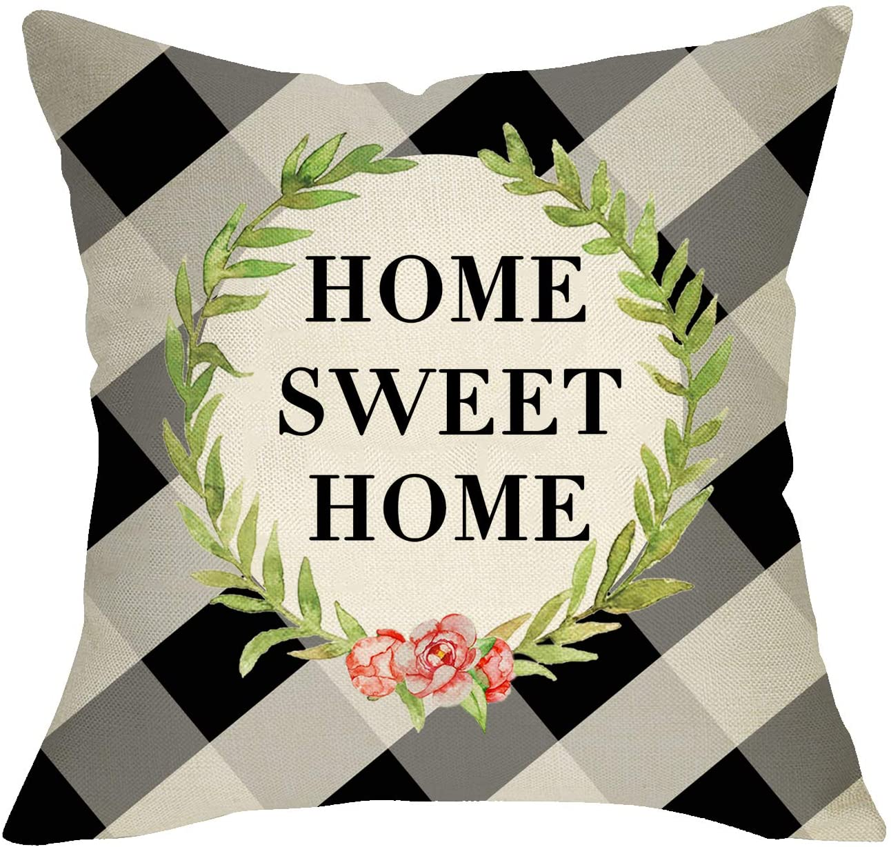 Fbcoo Home Sweet Home Throw Pillow Cover, Farmhouse Decorative Cushion Case Olive Branch Buffalo Plaid Check, Spring Summer Home Decorations Square Pillowcase Decor for Couch 18 x 18 Inch Cotton Linen