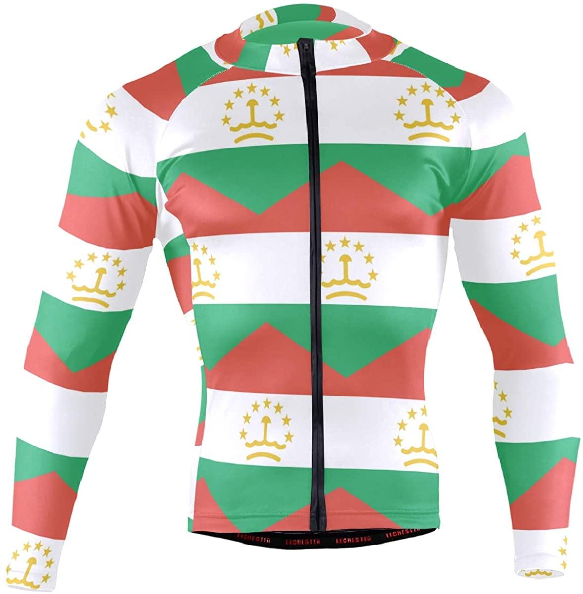 Tajikistan Flag Men's Long Sleeve Cycling Jersey Bicycle Jacket Pockets Full Zipper Bike Biking Shirts