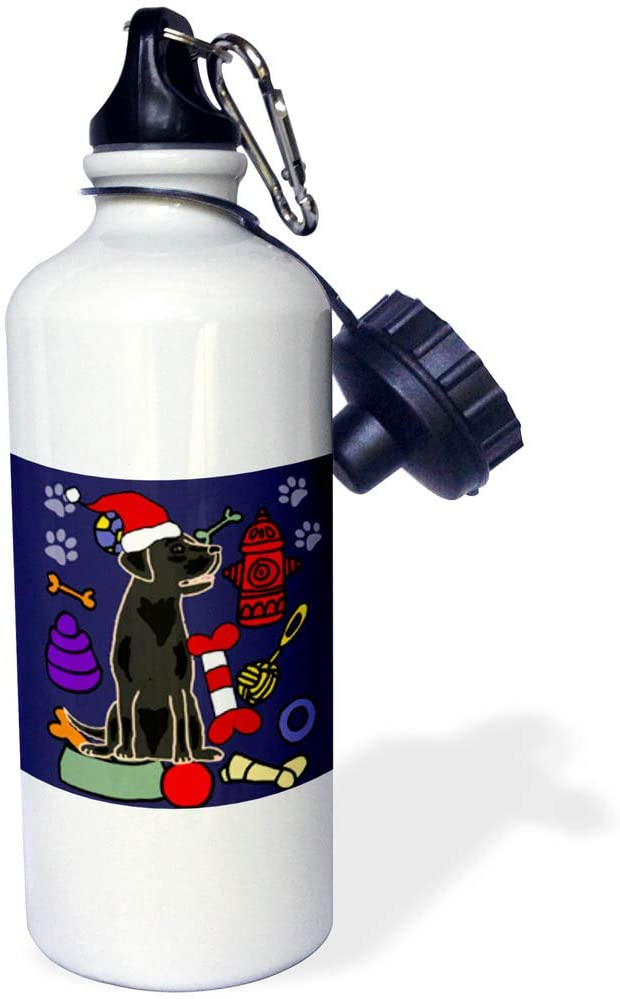 3dRose All Smiles Art - Pets - Funny Cute Black Lab Puppy Dog and Dog Toys Christmas Cartoon - 21 oz Sports Water Bottle (wb_322591_1)