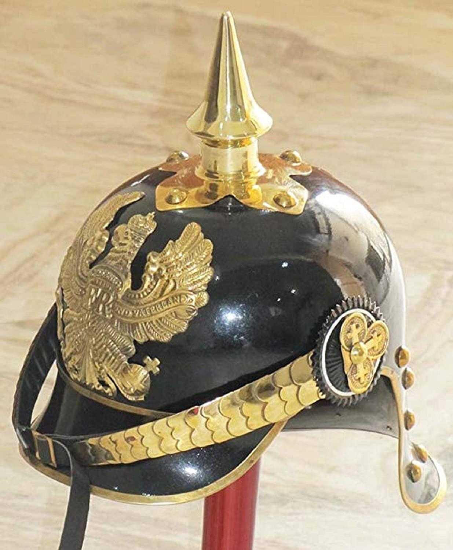 WW I&II German Prussian PICKELHAUBE Helmet Brass Accents Imperial Officer Spike Helmet PICKELHAUBE Helmet