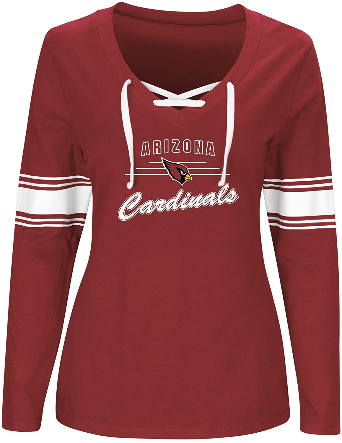 NFL Team Apparel NFL Womens Cardinals L/S Jersey V Neck Tee