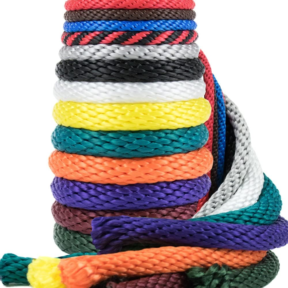 Golberg Rope 1/4-Inch 3/8-Inch 1/2-Inch 5/8-Inch 5/16 - Inch Solid Braid Utility Rope Made in USA - Multifilament Polypropylene MFP Derby Rope Boating Rope – Mildew Resistant - 13 Colors and Lengths