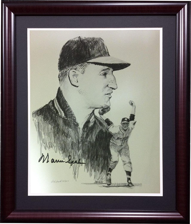 Autographed Spahn Photo - 11x14 Pencil Lithograph HOF framed LE 250 COA - Autographed MLB Art
