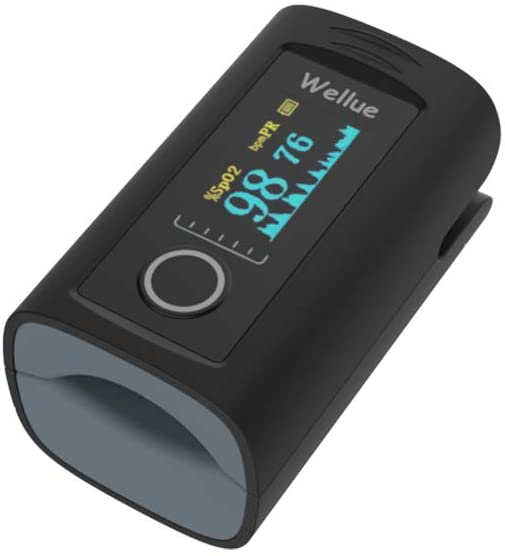 Wellue Fingertip Pulse Oximeter 60F, Blood Oxygen Saturation Monitor with Alarm, Batteries, Carry Bag & Lanyard for Wellness Use