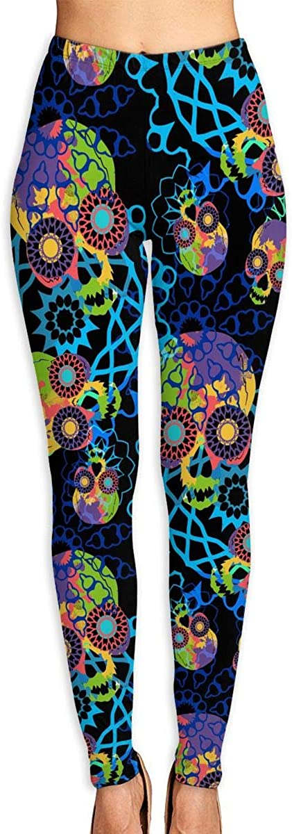 XIKEWL Women's Yoga Pants Psychedelic Design of Skulls Workout Stretchy Light Sport Leggings