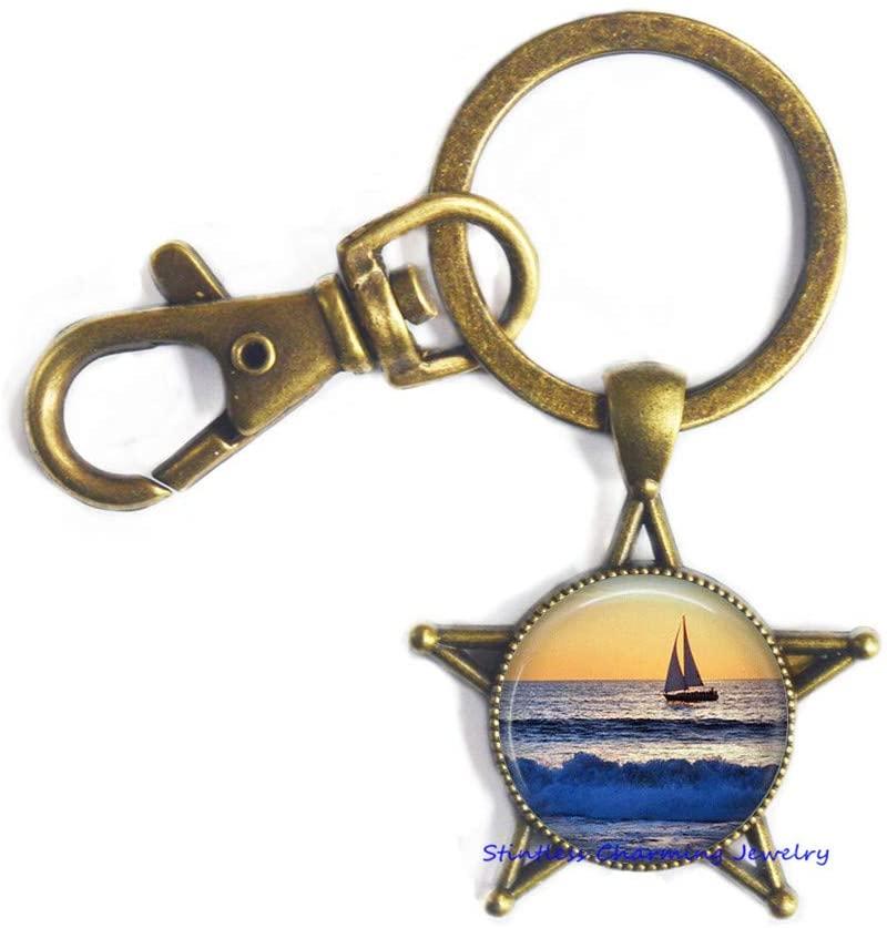 Sailboat Ocean Waves Keychain,Sailboat Keychain, Sailing, Adventure, Ocean, Nautical Jewelry, Boating, Sailor,Sailing Gifts-JV321