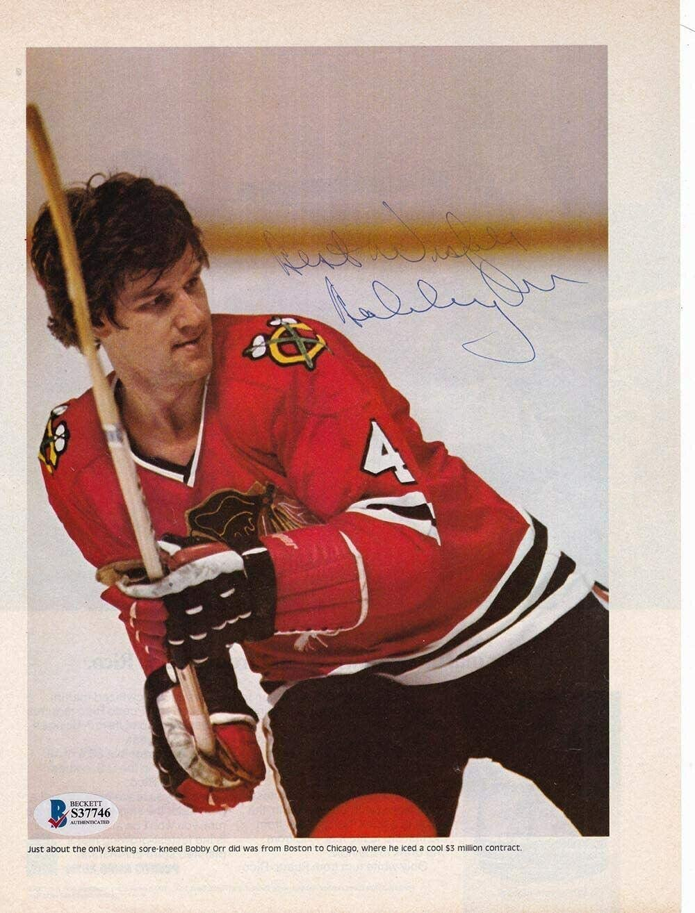Bobby Orr Chicago Black Hawks Signed Magazine Page Inscribed BAS - Beckett Authentication - Autographed NHL Magazines