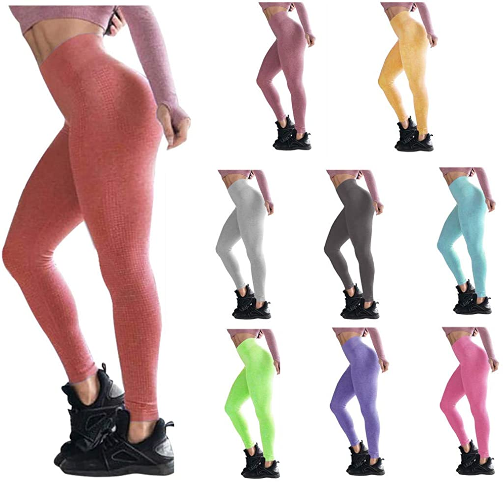 Seamless Leggings for Women High Waisted Print Tummy Control Workout Yoga Pants