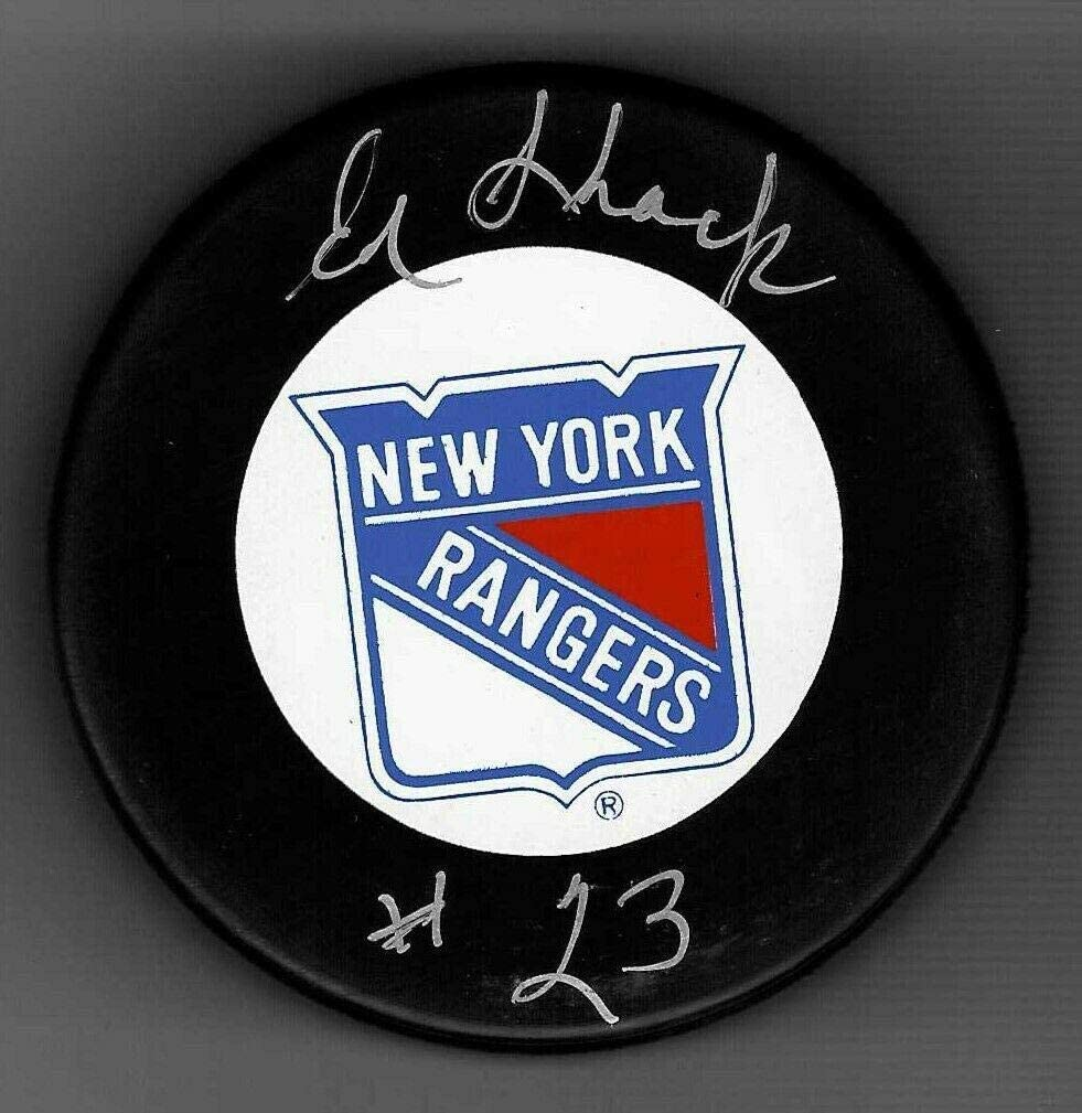 Eddie Shack Signed Puck - Trench - Autographed NHL Pucks