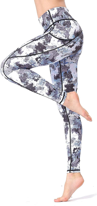 BUZZYFUZZY Women's High Waist Print Yoga Pants with Pockets Tummy Control Workout Leggings