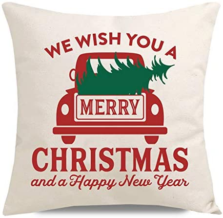 PANDICORN Farmhouse Holiday Christmas Pillow Covers for Home Decorations, Red Truck Green Christmas Trees, Merry Christmas and Happy New Year Throw Pillow Cases, 18x18