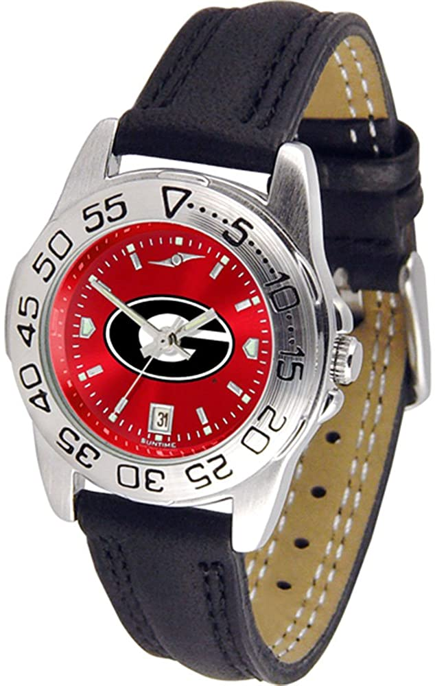 NCAA Georgia Bulldogs Ladies Anochrome Sport Watch with Leather Band