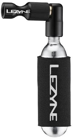 LEZYNE Trigger Drive Bicycle Tire CO2 Inflator & 16 Cartridge, Twin Chuck Head, Presta & Schrader Valves, Neoprene Sleeve, C02 Tire Inflator