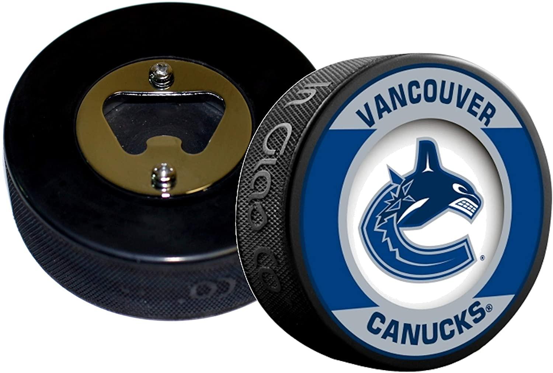 EBINGERS PLACE Vancouver Canucks NHL Retro Series Hockey Puck Bottle Opener