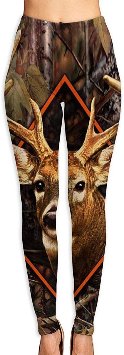 Lady Yoga Pants Leggings Deer Buck Camo Running Workout Power Stretch Long Trousers Dance Gym