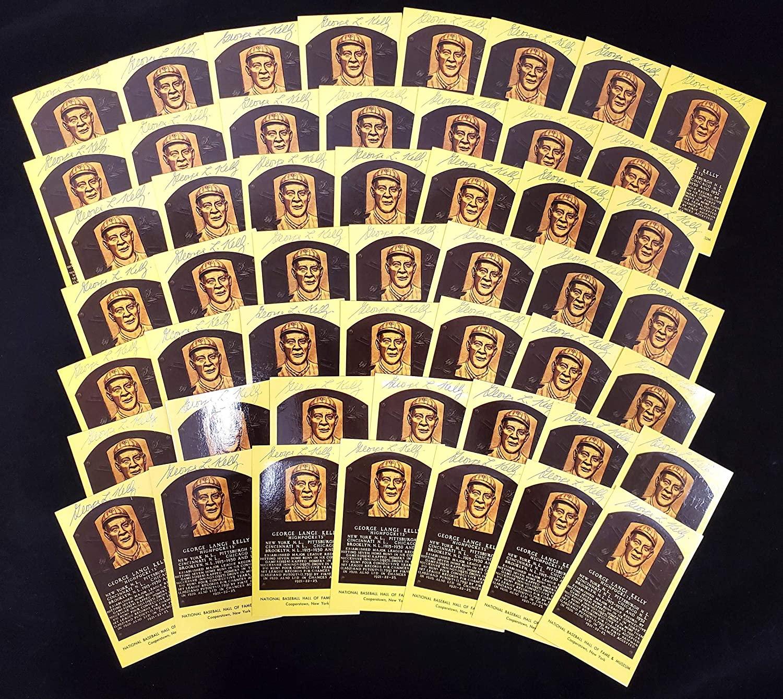 George Kelly Autographed HOF Plaque Postcard New York Giants Lot of 50 SKU #172605 - MLB Cut Signatures