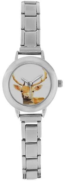 QUICKMUGS2U Watch Deer Vintage Style Stainless Steel Classic Watch Woes Unisex Watch Boyfriend Watch