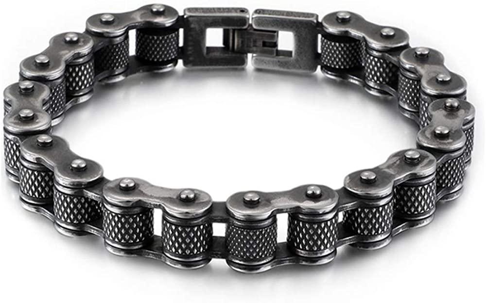 WANGLXTC Fine Titanium Steel Bracelet, Men Stainless Steel Bicycle Bracelet Titanium Steel Personality Men's Motorcycle Chain 23cm Unisex