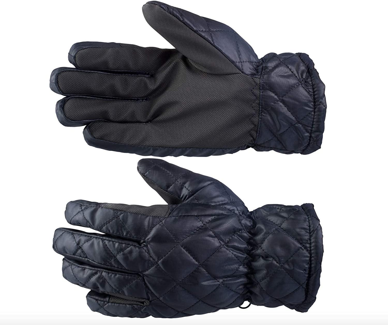 Finn-Tack Horze Adult Children's Navy Blue Size 10 Quilted PU Grip Soft Warm Winter Gloves