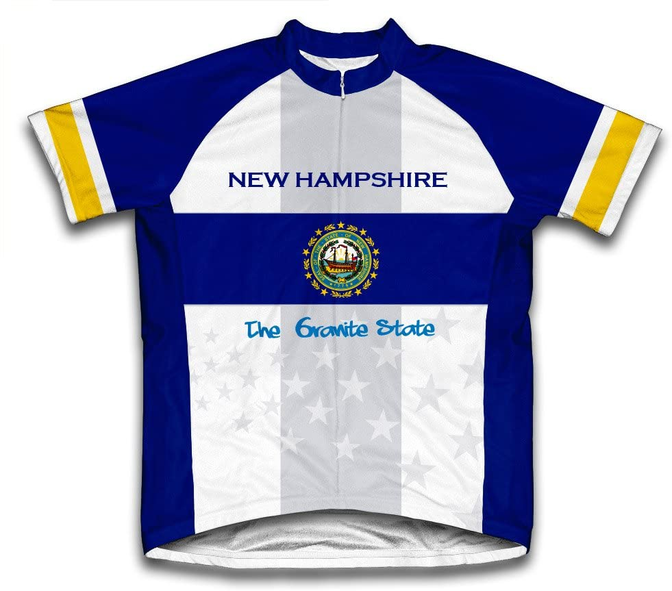 ScudoPro New Hampshire Flag Short Sleeve Cycling Jersey for Men