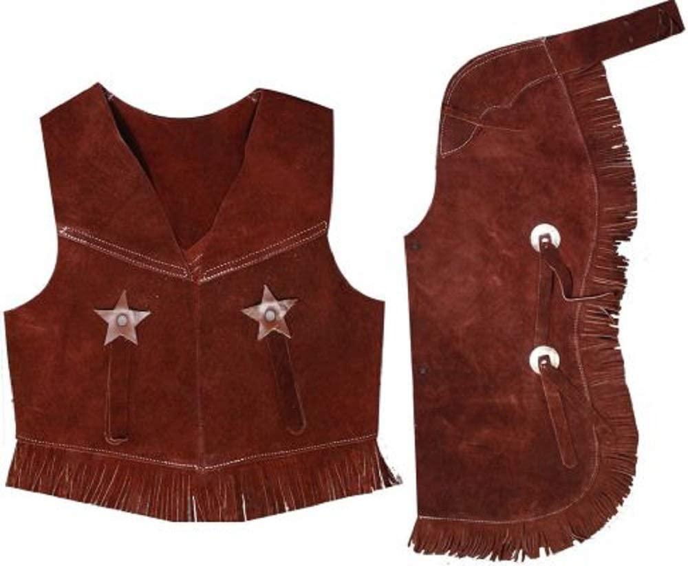 Showman Kids Children's Brown Medium (4-6) Black Dark Tan Fringe Suede Cow Bull Vest Chaps Set