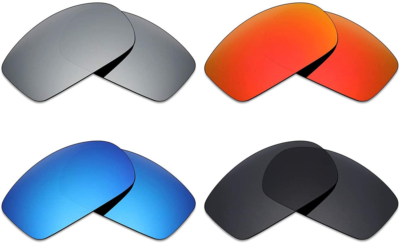 Mryok 4 Pair Polarized Replacement Lenses for Von Zipper Clutch Sunglass - Stealth Black/Fire Red/Ice Blue/Silver Titanium