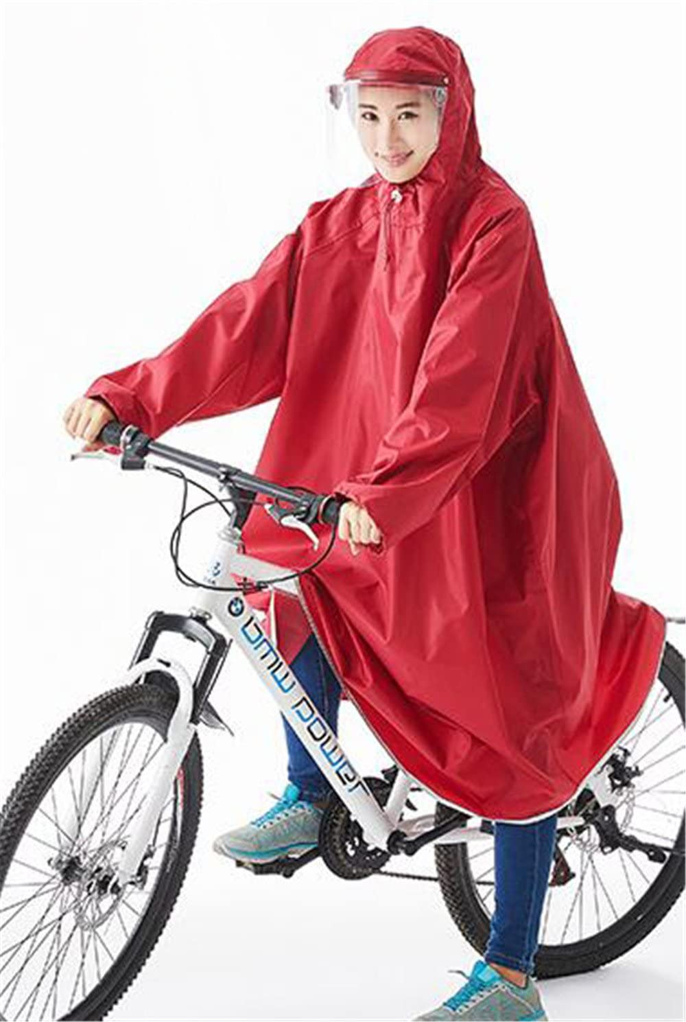 Biscount Helmet & Sleeves Rain Poncho Bike Waterproof Cycle Rain Cape For Outdoor Sports Camping,Hiking,Fishing,Cycling - Full Face Cover Red