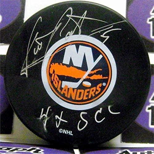 Signed Denis Potvin Hockey Puck - inscribed 4x SCC - Autographed NHL Pucks