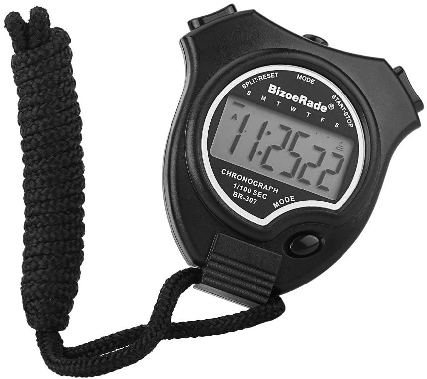 BizoeRade Digital Stopwatch, Sports Stopwatch Timer with Large Display, 2 Lap Memory, Date, Alarm Clock, Perfect for Coaches, Kids, Training, Fitness, Match