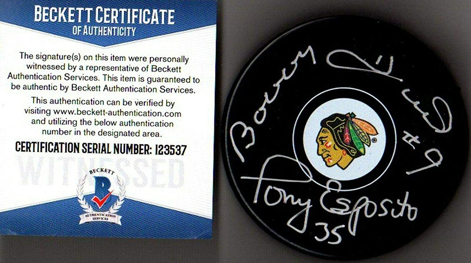 Beckett Bobby Hull & Tony Esposito Autographed-signed Chicago Blackhawks Puck 37 - Beckett Authentication