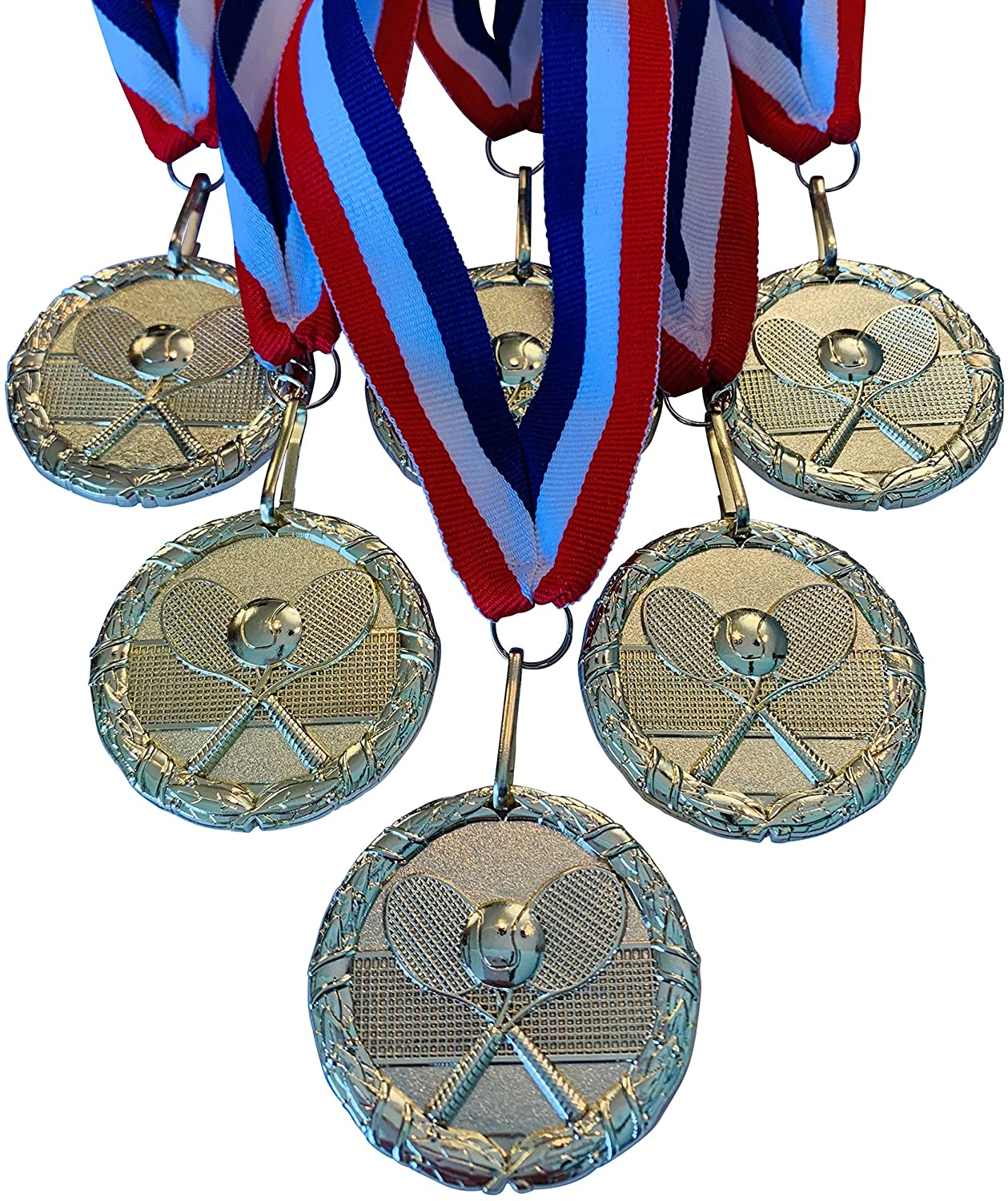 Gold Color Tennis Medal Award Trophy with Neck Ribbon (Pack of 6)
