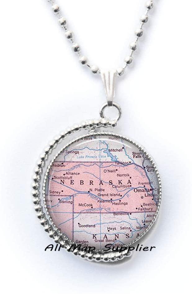 AllMapsupplier Fashion Necklace,Nebraska map Pendant Nebraska map Necklace Nebraska Pendant Nebraska Necklace,map Jewelry,A0123