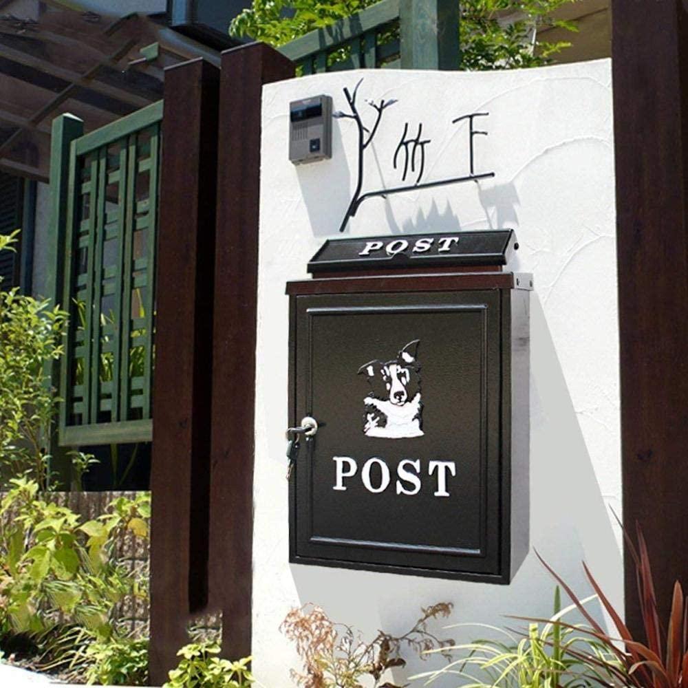 LXSXZGLY European Mailbox, Outdoor rainwater Villa Mailbox, Wall-Mounted Lock Mailbox, Large Rural Creative Mailbox, Mailbox,B,1