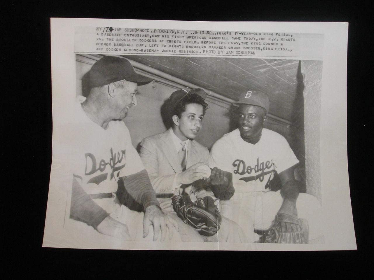 August 13, 1952 Vintage Wire Photograph - Jackie Robinson, Chuck Dressen - MLB Unsigned Miscellaneous