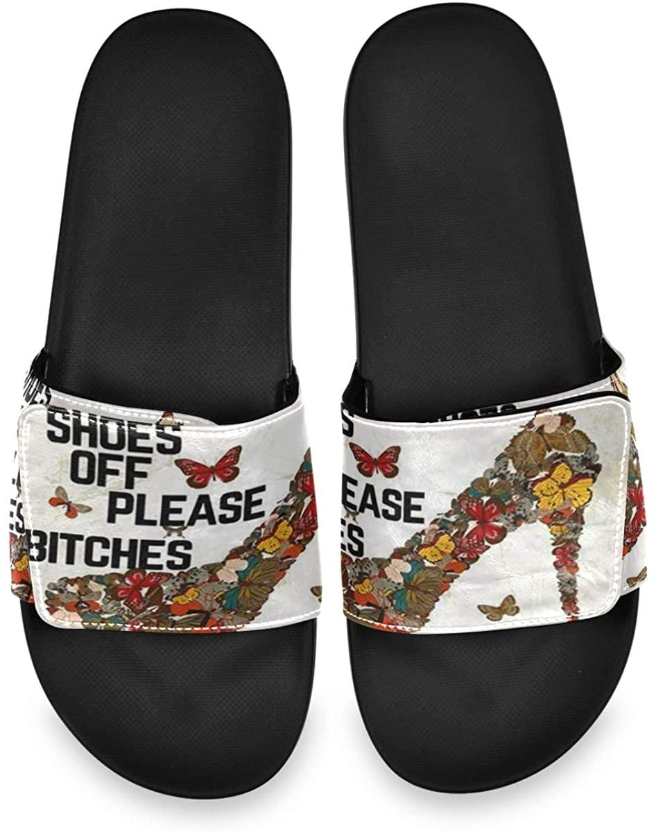 Colorful High Heels Mens Leather Slide Sandals Summer House Adjustable Slippers Comfortable Boys