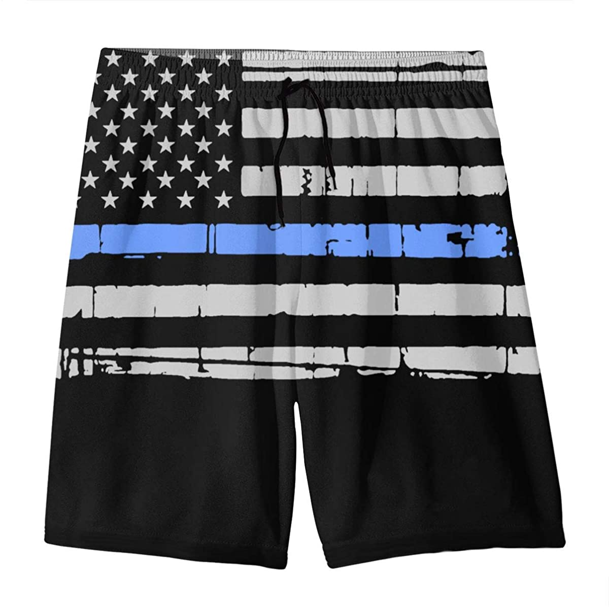YOIGNG Blue Thin Line Teens Swim Trunks Beach Shorts Surfing Board Quick Dry Bathing Suit
