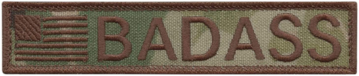 LEGEEON American Badass 1x5 Multicam Tactical Morale US Army Gear Fastener Cap Patch