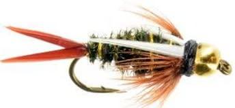 Feeder Creek Prince Bead Head Nymph Fly Fishing Trout Flies - One Dozen Wet Flies - 3 Size Assortment 14,16,18 (4 of Each Size)