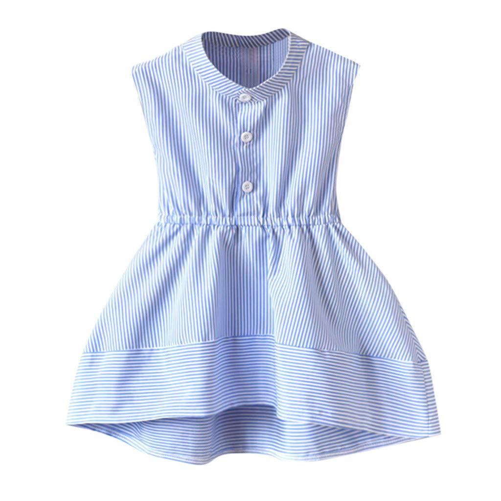 VonVonCo Toddler Kids Baby Children Skirts for Girls Summer Dress Sleeveless Stripe Party Princess Dresses Blue
