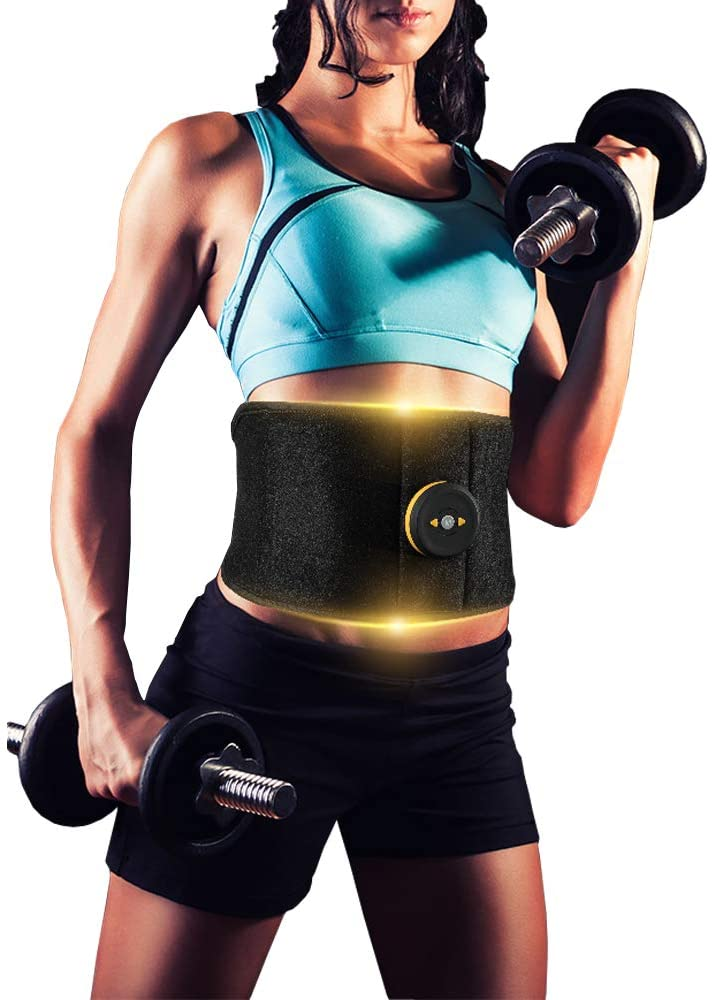 ixaer Electric Slimming Belt Waist EMS Ab Stimulator Electronic Abdominal Belt Muscle Toning Waist Trainer 6 Massage Modes 9 Levels Adjustable Intensity Vibration Loss Weight Fat Burner Trimmer Belt