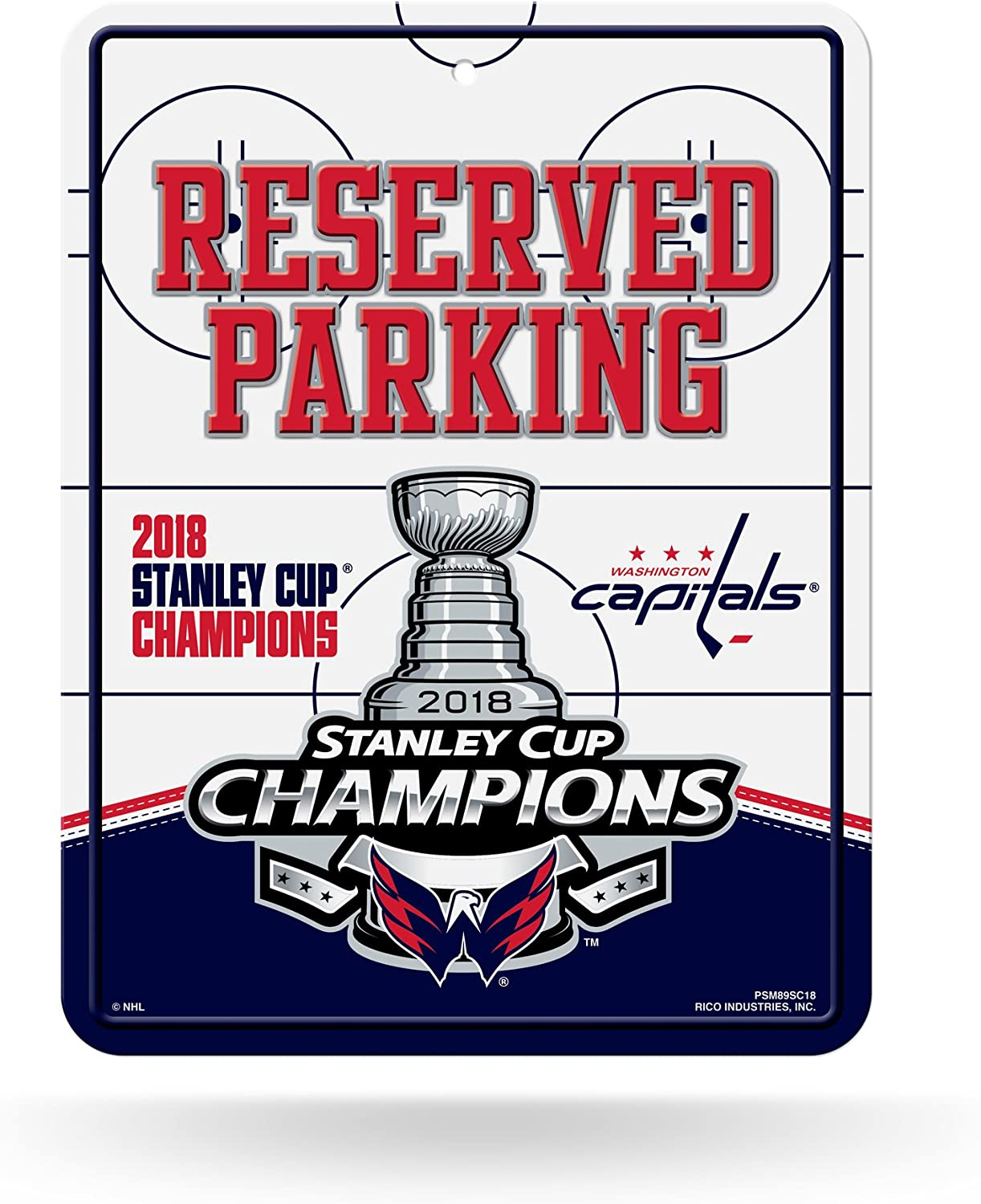 Rico Industries NHL Washington Capitals 2018 Stanley Cup Champions 8-Inch by 11-Inch Metal Parking Sign Décor