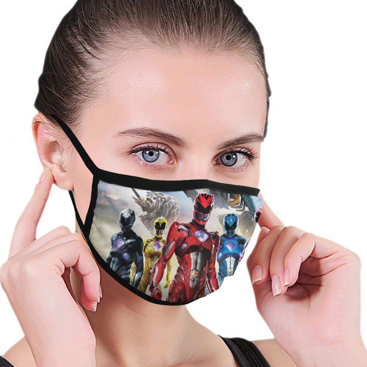 Qwtykeertyi Power Rangers Fashion Protective Reusable Unisex Black Cotton Washable Balaclava