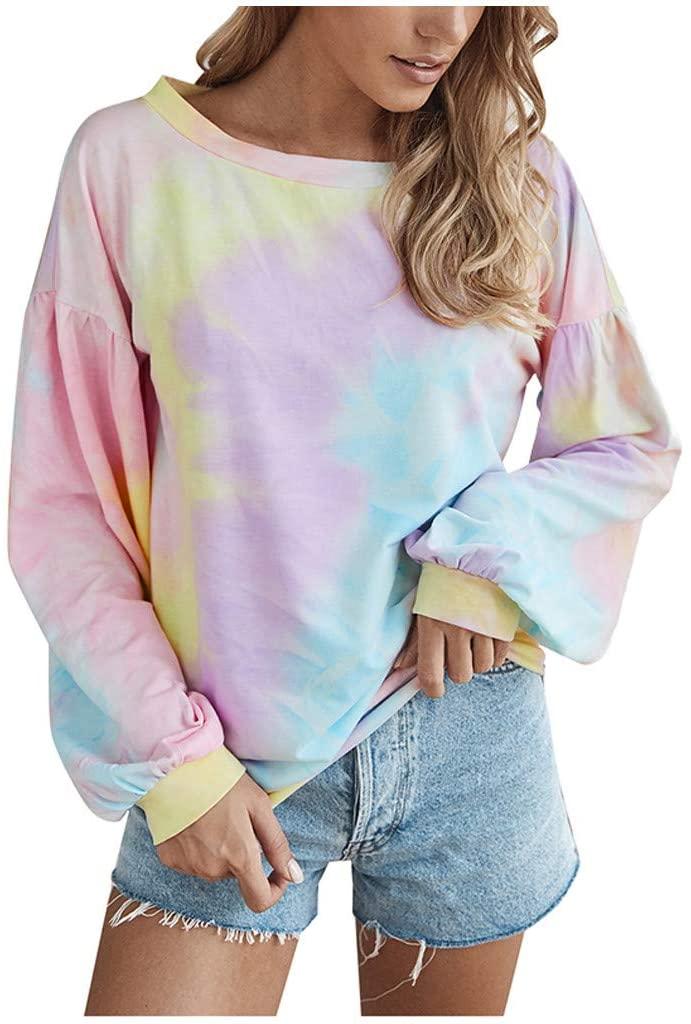 Dosoop Women Fashion Tie Dye Print Sweatshirts Crew Neck Long Sleeve Casual Loose Pullover Top Shirts Blouse