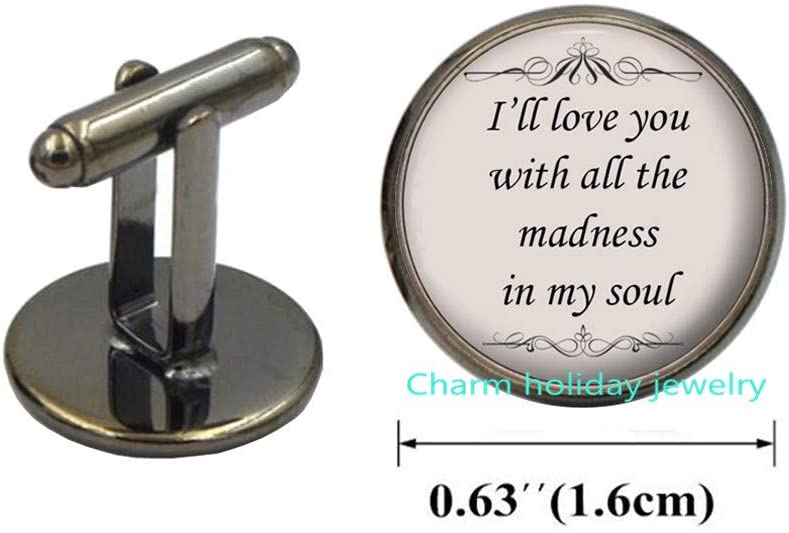 I Will Love You with All The Cufflinks-Song Quote Cuff Links-Silver Romantic Love Lyrics Jewelry Gift for Women and Friends-Born to Run-#267