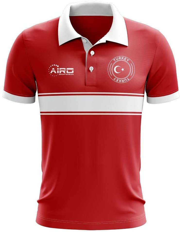 Airosportswear Turkey Concept Stripe Polo Football Soccer T-Shirt Jersey (Red) - Kids