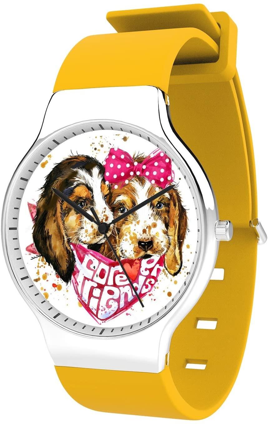Modern Unisex Wrist Watch, Minimalist Fashion Waterproof Watches Simple Silicone Band Dress Watches for Business Men (Dog)
