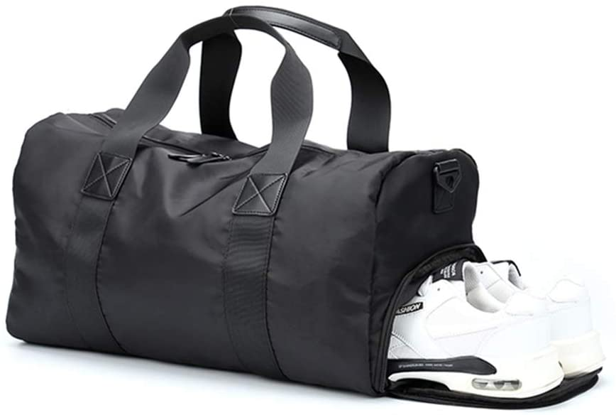 Sports Gym Bag Men's Sneakers Handbags Sports Weekend Overnight Luggage Bag Men's and Women's Overnight Bag (Color : Black, Size : L)